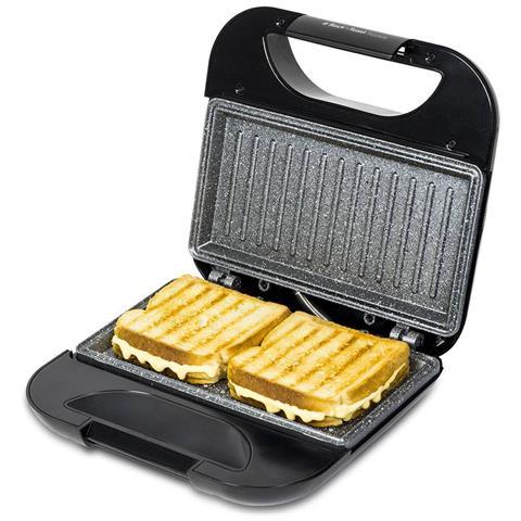 Piastra per panini con grill e rivestimento in pietra, acciaio inox, 750w