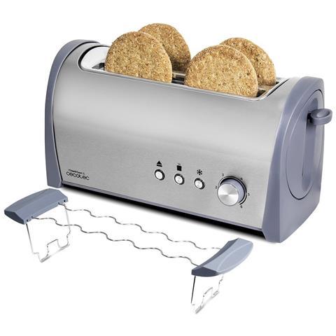 Tostapane Steel & Toast 2L con capacità per 4 toast. Supporto per panini, 1400 W di potenza e 6 posizioni di tostatura, funzione scongelamento e funzione riscaldamento. Ampio vassoio raccogli-briciole e alloggiamento per i cavi.