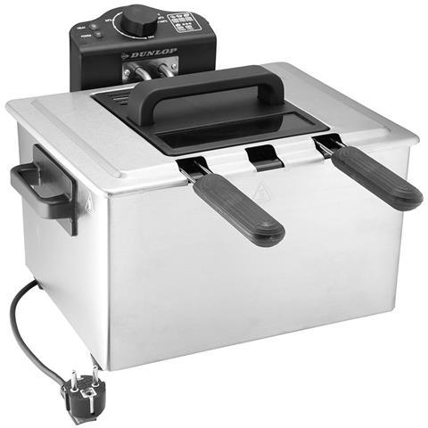 Friggitrice Elettrica Professionale Acciaio Inox 3 Cestelli 2000w 5 Litri Dunlop