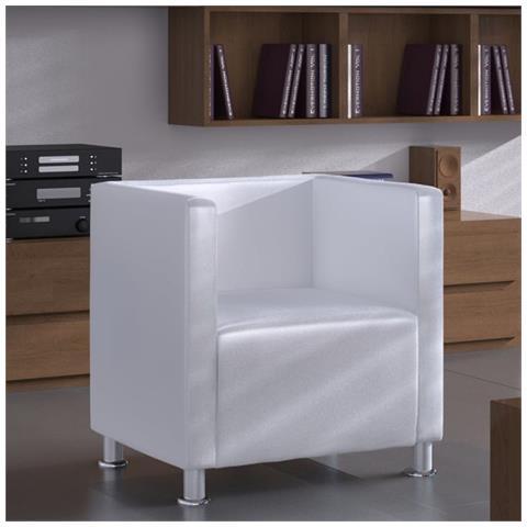 vidaXL Poltrona di Design a forma di Cubo in Pelle Artificiale Colore Bianco