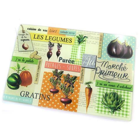 tagliere / sottopentola 'au marché primeur' frutta e verdura (30x20 cm) - [ n5692]