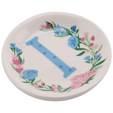 Birds And Botanics Piattino Decorativo In Ceramica Con Lettera (i) (acqua / rosa)