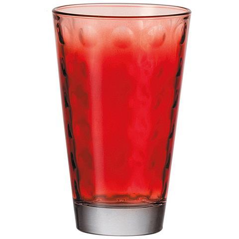 Optic 6 Bicchieri Grandi In Vetro, 300 Ml, Rosso,