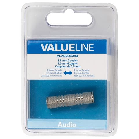 VALUELINE VLAB22950M, 3.5mm, 3.5mm, Femmina / femmina, Argento