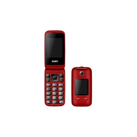 "SAIET Vista Senior Phone Dual Sim Display 2.4 "" Slot MicroSD Bluetooth con Tasti Grandi + SOS Fotocamera Colore Rosso - Italia"