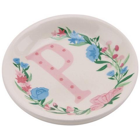 Birds And Botanics Piattino Decorativo In Ceramica Con Lettera (p) (acqua / rosa)