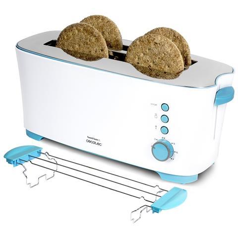 Tostapane toast&taste 2l con capacità per 4 toast. supporto per panini 1350 W di potenza e 7 posizioni di tostatura, funzione scongelamento e funzione riscaldamento. Sistema di sollevamento extra, grande vaschetta porta briciole e canalina portacavi