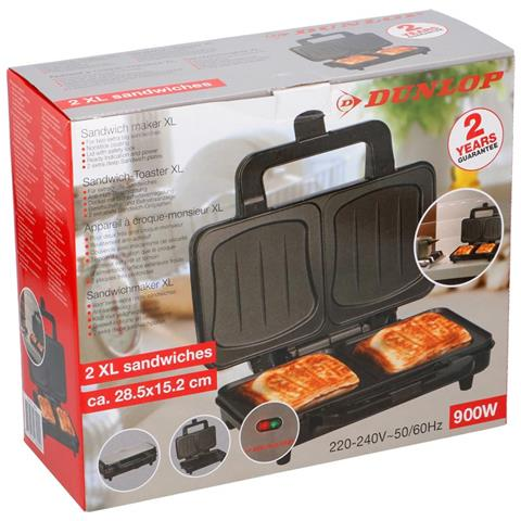 Piastra Elettrica Per Sandwich Toast 900w Acciaio Grill Antiaderente Dunlop