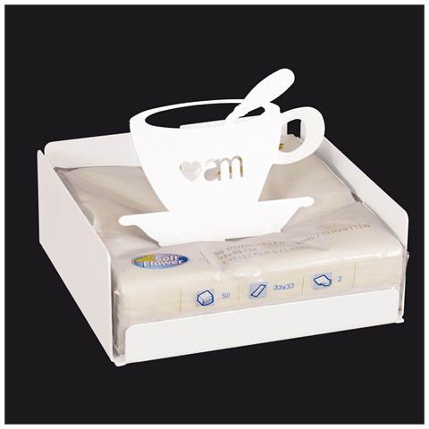 Portatovaglioli Tazzina Bianco, Metallo Dimensioni 17x17 Cm