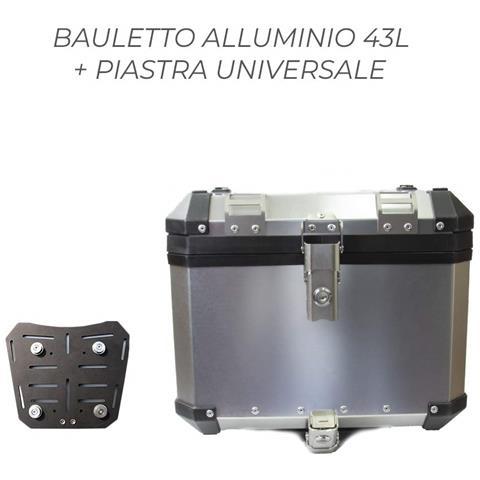 Bauletto Top Case Baule Posteriore Alluminio 43l + Piastra Sgancio Rapido Universale Bmw R...