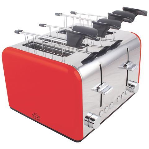 Tostapane 4 Pinze Potenza 1200/1400W Colore Rosso
