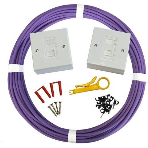 Image of Kit Cavo Di Rete Cat6 Utp / lszh 23 Awg Premium - Cavo Ethernet In Rame 100% - Colore Viola (100 Metri)