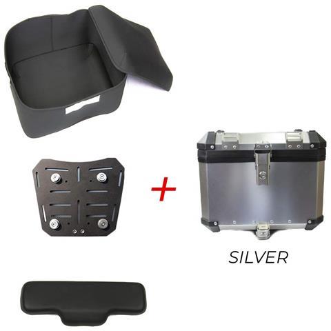 Kit Bauletto Posteriore Alluminio 43l+ Piastra + Schienale + Borsa Interna Universale Tutt...
