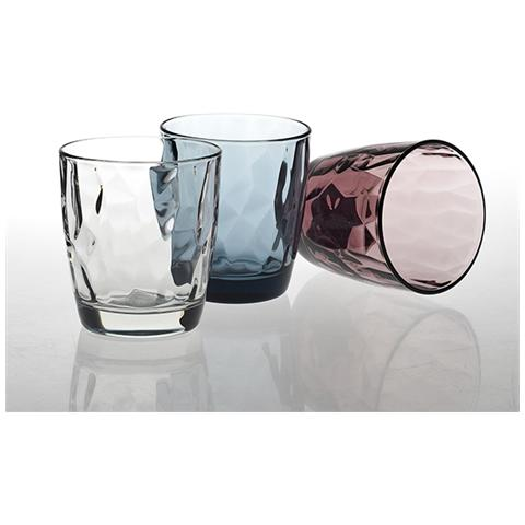 Set 6 Bicchieri In Vetro Diamond Acqua Purple 30.5 Tavola