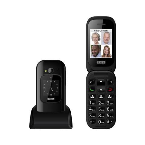 "SAIET Unico Max Senior Phone Display 2.4 "" Slot MicroSD Tasti Grandi + SOS Fotocamera Colore Nero Lucido - Italia"