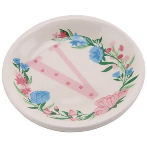 Birds And Botanics Piattino Decorativo In Ceramica Con Lettera (v) (acqua / rosa)