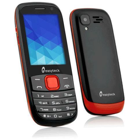"""EASYTECK M300 Nero / Rosso Dual Sim Display 2.4"""" connessione 3G Bluetooth + Fotocamera - Italia RICONDIZIONATO"""