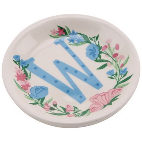 Birds And Botanics Piattino Decorativo In Ceramica Con Lettera (w) (acqua / rosa)