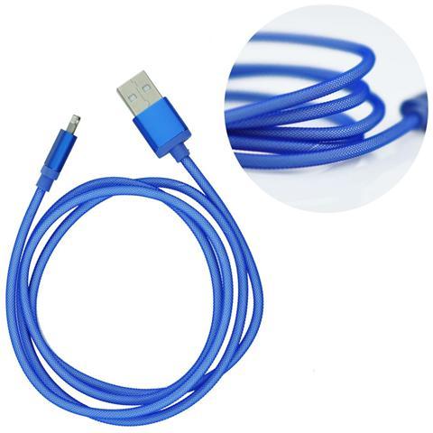 P.t.h.Gsm Cavo Usb Metallico - Apple Iphone 5/5c / 5s / 6/6 Plus Azzurro