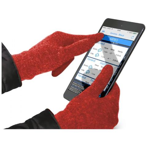 SBS Guanti Touch Per Touchscreen Capacitivi, Colore Rosso, Large