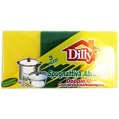 Dilly Spugna + Fibra Bassa 3 Pezzi Attrezzi Pulizie