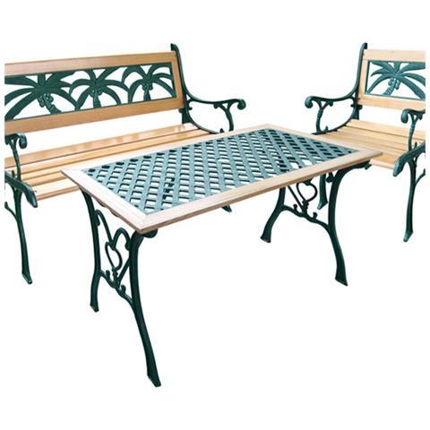 Tavolo in ghisa e legnod decoro palma misura standard
