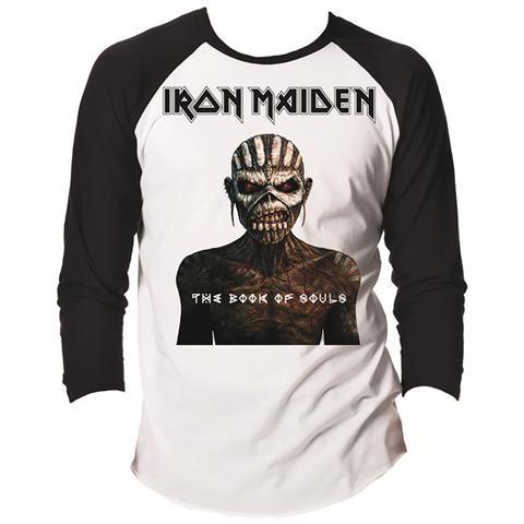 ROCK OFF Iron Maiden - Raglan / Baseball Book Of Souls Black White (T-Shirt Unisex Tg. S)