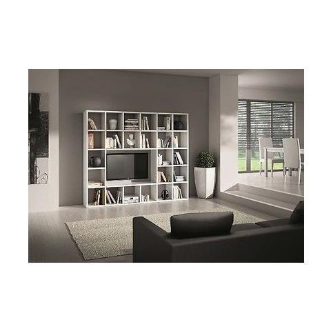 Parete Tv Soggiorno.Estea Mobili Libreria Parete Moderno Soggiorno Porta Tv Legno Bianco Frassinato Componibile