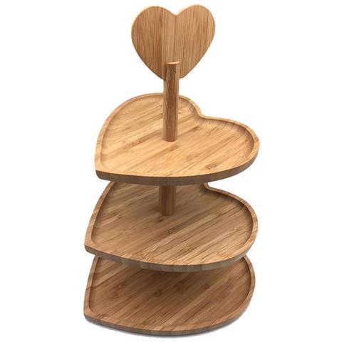 Alzata Stand Porta Dolci Forma Cuore In Legno Bamboo 3 Piani Alzatina Cupcake