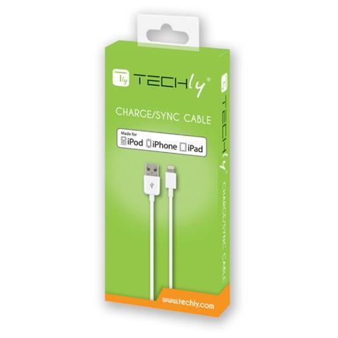 TECHLY Cavo Lightning certificato Apple MFI lunghezza 1m colore bianco.