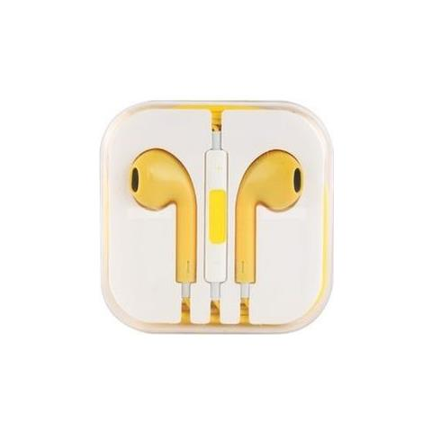 NetworkShop Cuffie Auricolari Con Microfono Compatibili Iphone 5/5s / 6/6s / ipod / ipad Gialle
