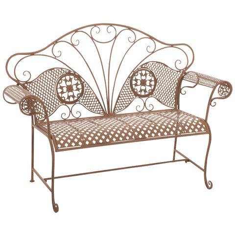 Panchina Da Giardino Stile Romantico Cp504 58x140x105cm Colore Marrone