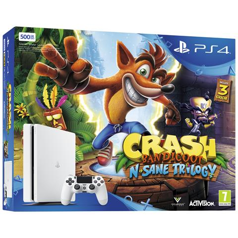 Image of Console Playstation 4 PS4 500 Gb E Slim White + Crash Bandicoot N-Sane Trilogy Limited Bundle