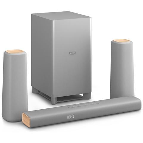 PHILIPS Soundbar CSS5330G / 12 Dolby Digital, Dolby Pro Logic II, 580 x 98 x 52 mm, 110 x 110 x 301 mm, 228 x 265 x 406 mm, 80 - 18000 Hz, 120 - 18000 Hz