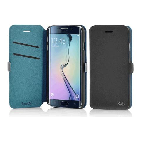 FONEX Elegance Book Custodia a Libro per Galaxy S6 Edge Bicolore Grigio Scuro / Blu