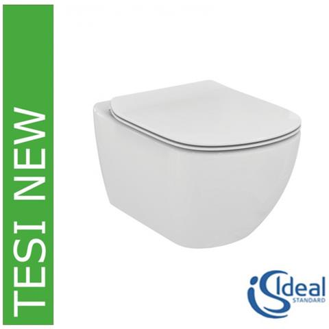 Vaso Wc Sospeso Con Sedile Slim Rallentato Tesi New T3541, Bianco