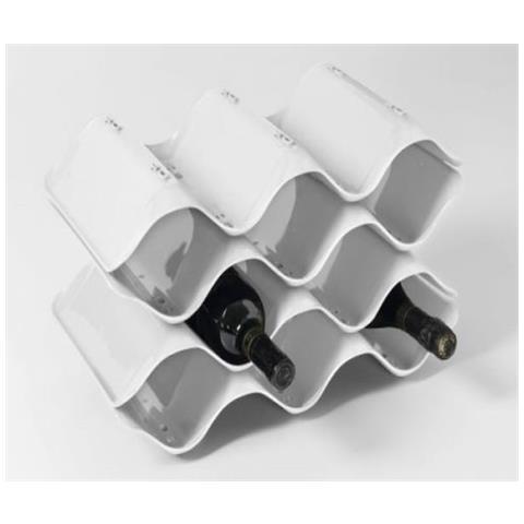 Cantinetta Wave Colore Bianco Componibile 10 Posti Mis 46x24x24 Cm Porta Bottiglie