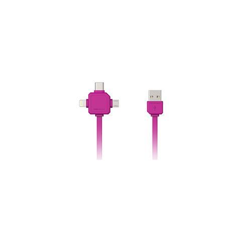 ALLOCACOC Cavo USB + adattatore Lightning / Type-C / MicroUSB colore Rosa