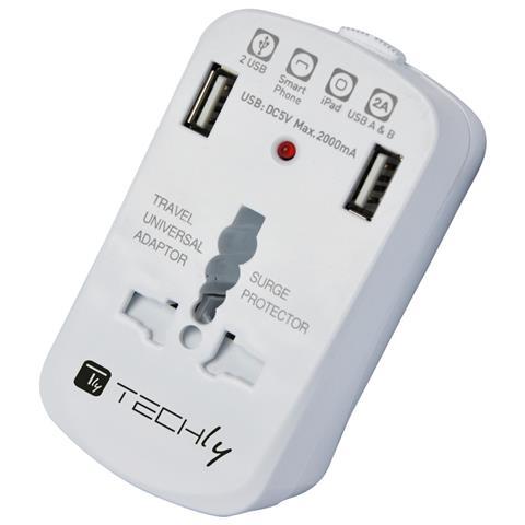 TECHLY IPW-ADAPTER6 - Adattatore Universale da Viaggio da 2A per Prese Elettriche 2 USB
