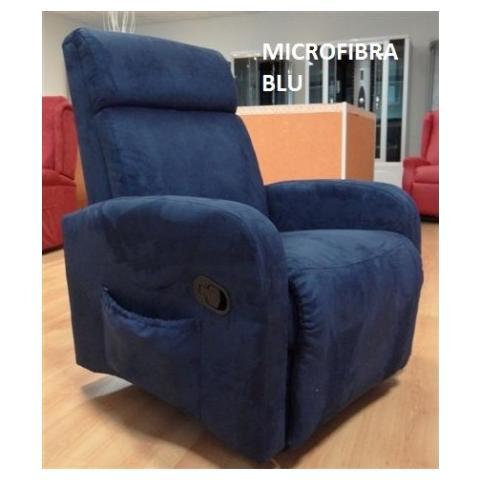 Casa ABC Poltrona Silvia Reclinabile Manualmente Con Vibromassaggio In Microfibra Blu