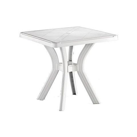 Tavolo Quadrato In Resina Bianco