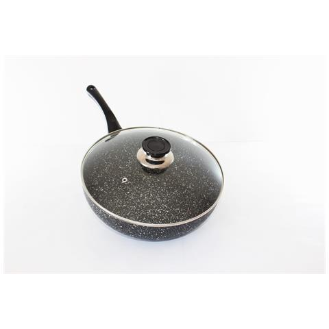 Padella wok vulcanica rivestimento antiaderente con coperchio nera 30 cm