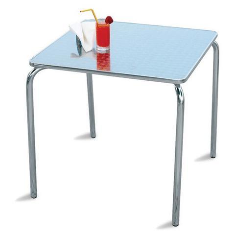 Tavolo da Giardino in Alluminio Impilabile 70x70 cm