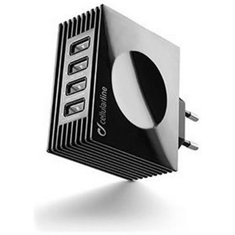 CELLULAR LINE Caricabatterie da Rete 4USB 4A - Nero
