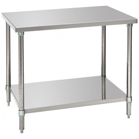 601710 Tavolo da lavoro da cucina con mensola inferiore 100X70X86/90