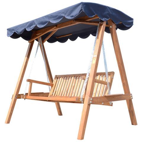 Dondolo con baldacchino 3 posti in legno, blu