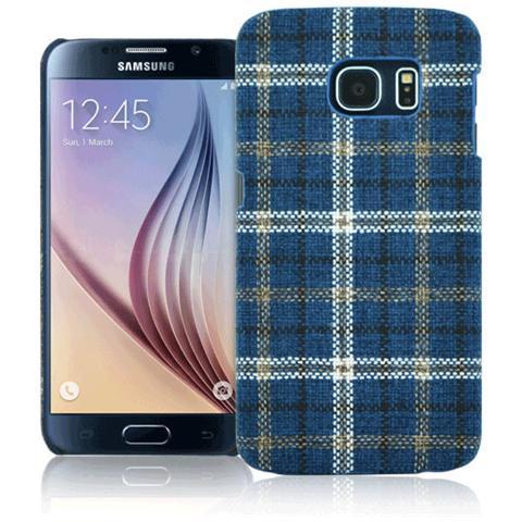 FONEX Tartan Cover Rigida in Tessuto con Texture Scozzese per Galaxy S6 Colore Blu