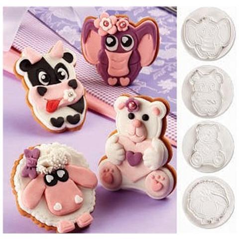 Set 4 Stampi Ad Espulsione Per Biscotti A Forma Animali Pavoni