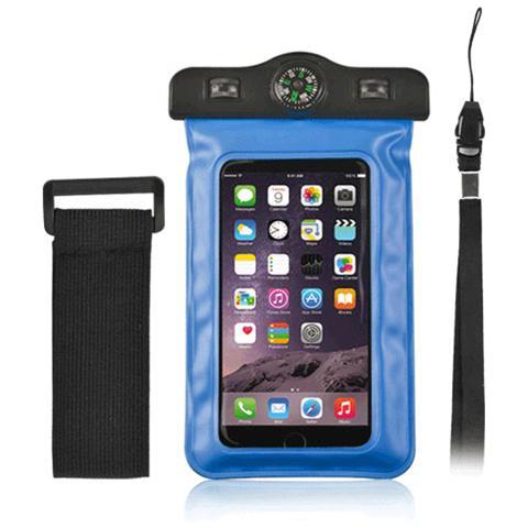 "FONEX Custodia Waterproof Plus con Bussola per Dispositivi 3""- 5.7"" Colore Blu"