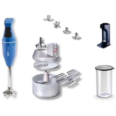 Frullatore Ad Immersione Mono Potenza 180 Watt + Set Accessori Colore Azzurro